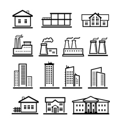 Black buildings and factories icons set vector