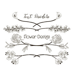 black floral text dividers flower design vector image