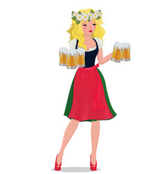 blonde girl with beer in a traditional dress vector image