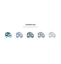 Camper car icon in different style two colored vector