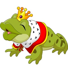 Cartoon funny king frog king blowing a kiss vector