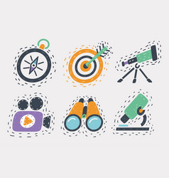 cartoon icons set hand drawn vector image