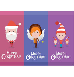 christmas characters avatars vector image