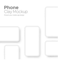 Clay smartphones mockups for showcase mobile app vector