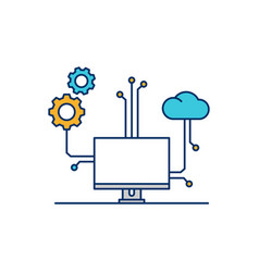 cloud computer device setting icon line outline vector image