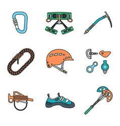 colored outline various alpinism tools icons vector image