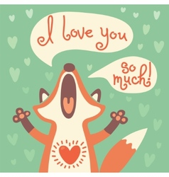 Cute fox confesses his love vector image