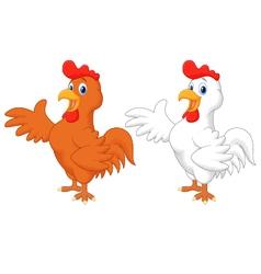 Cute rooster cartoon presenting vector