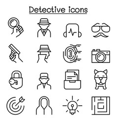 Detective icon set in thin line style vector