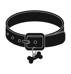 Dog collar icon in black style isolated on white vector