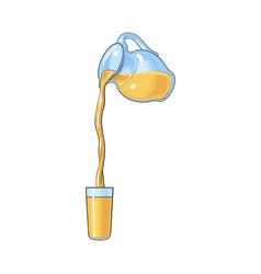 Drawing of orange juice pouring from jar in glass vector