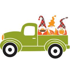 dwarf truck green truck with dwarfs green truck vector image