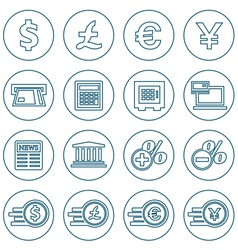 Financial and money thin line icons set vector image