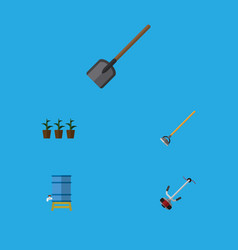 Flat icon garden set of shovel tool container vector