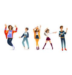 Flat young men women dancing at party vector