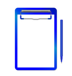 folder with clip and pen blue vector image