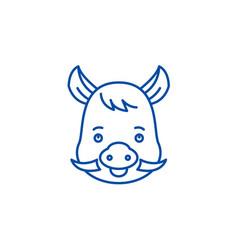 funny boar line icon concept funny boar flat vector image