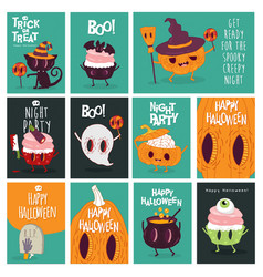 funny pumpkins wish you a happy halloween holiday vector image