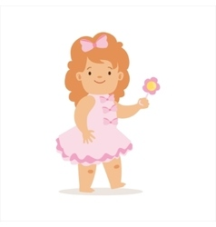 Girl In Pink Dress Walking With Flower Adorable vector image