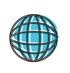 globe world icon watercolor silhouette with thick vector image