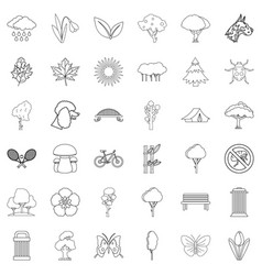 Green yard icons set outline style vector