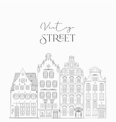 Hand drawn line art old houses vector