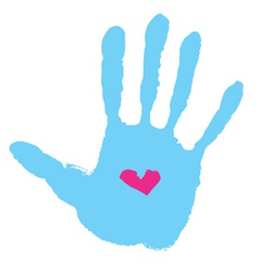 handprint with heart vector image