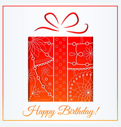 Happy birthday card with gift gradient vector