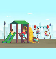 Happy childhood kids playing on playground area vector