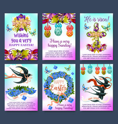 happy easter greeting card and poster set vector image