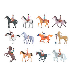 Horse riders equestrian sport people sitting vector