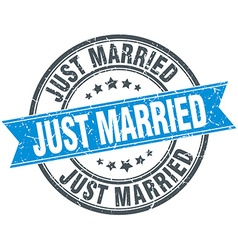 Just married blue round grunge vintage ribbon vector