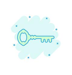 Key icon in comic style access login cartoon vector