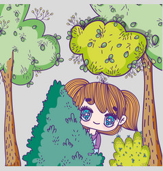 Kids little girl anime cartoon behind tree vector