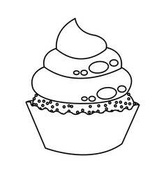 little delicious cupcake muffin bakery food vector image