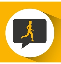 Man runner sport emblem laurel branch vector