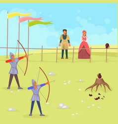 medieval archery scene flat vector image