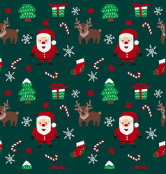 Merry christmas seamless pattern with santa claus vector
