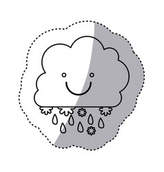 Monochrome contour sticker with smiling cumulus of vector