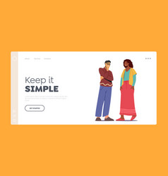 Multiethnic couple talking landing page template vector
