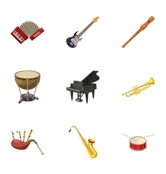 Musical device icons set cartoon style vector