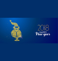 new year 2018 gold glitter holiday santa claus vector image