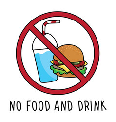 No food and drink allowed area symbol sign vector