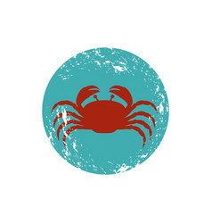 old blue circular ornament with crab inside vector image