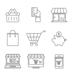 Online Shopping Icons Line vector