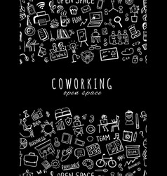 People in coworking office seamless pattern for vector