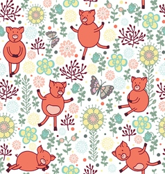 pigs on a meadow seamless pattern vector image vector image