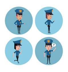 police officer icons cartoon vector image