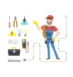 Professional electrician infographics electricity vector