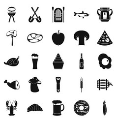 ready meat icons set simple style vector image